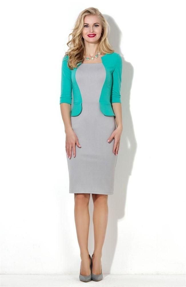 e1a55724c20 Платье-футляр длины миди с рукавами мятного цвета XS — купить на Robo.market
