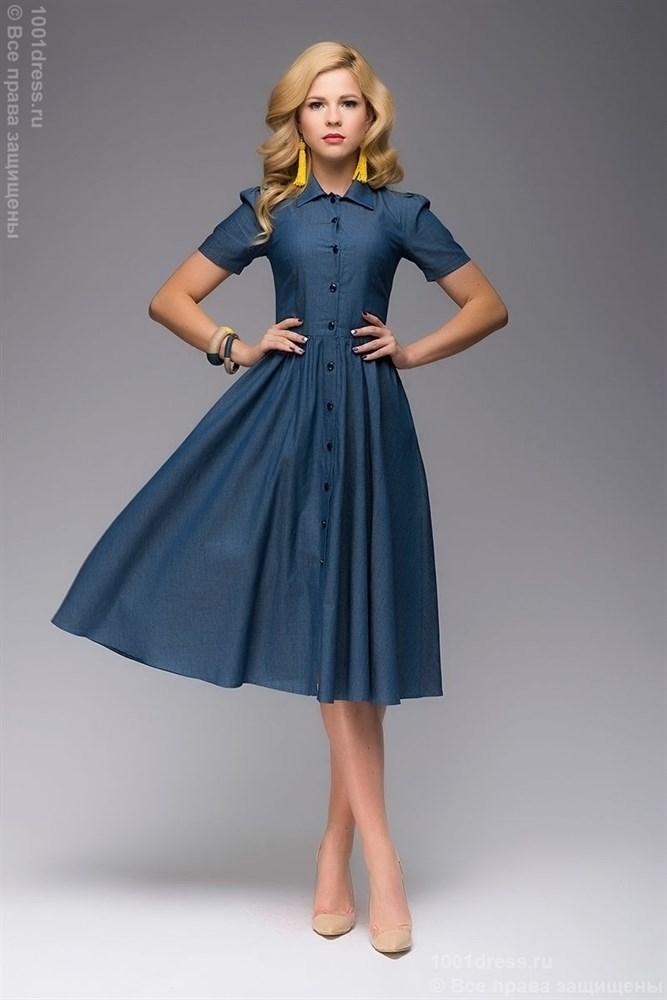 e99f0ddd68c Синее джинсовое платье длины миди с рубашечным верхом M — купить на  Robo.market