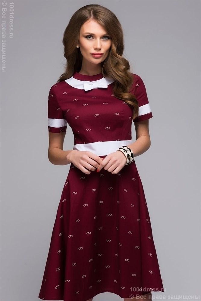 f34ac85c1f1 Стильное платье на каждый день из коллекции весна-лето 2016. Красивый  бордовый цвет