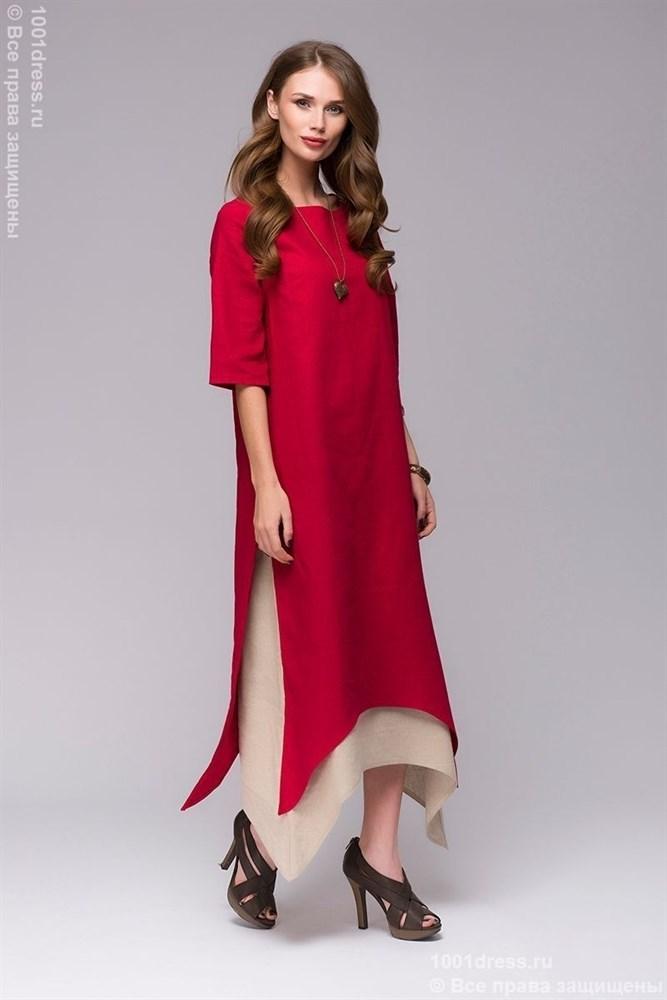 d7051ca0d62 1001Dress   DM00651RD   Красное платье свободного кроя с двойной юбкой XS    Россия — купить на Robo.market