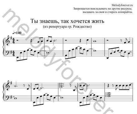 ноты для фортепиано как хочется жить рождество